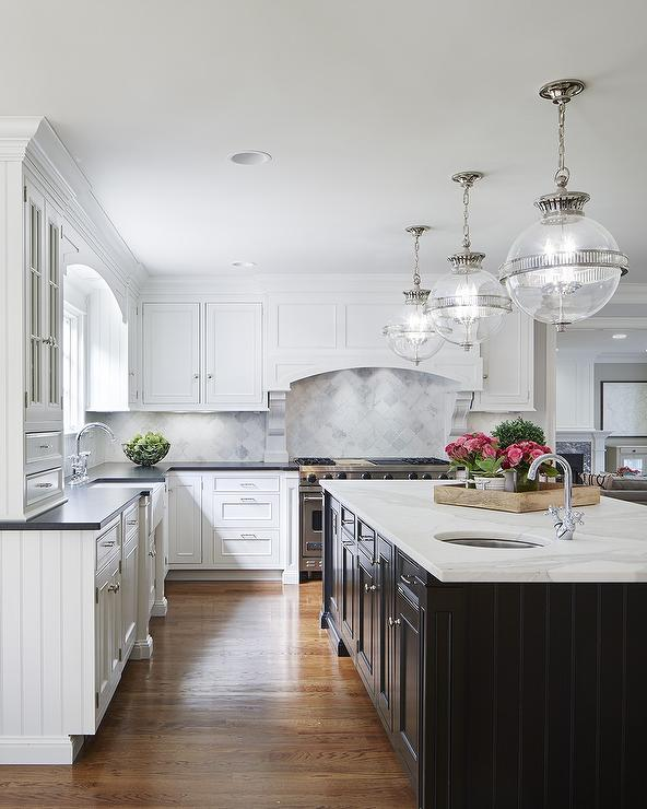 White Cabinets with Black Island  Transitional  Kitchen