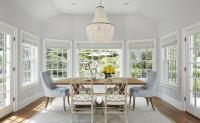 Blue and Grey Dining Room with Damask Roman Shades ...