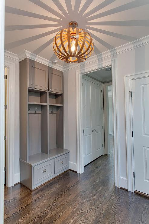 Gray Mudroom Lockers With Cup Pull Hardware Contemporary