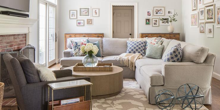 how to arrange furniture in small living room with fireplace designs dining table light gray skirted sectional round wood coffee ...