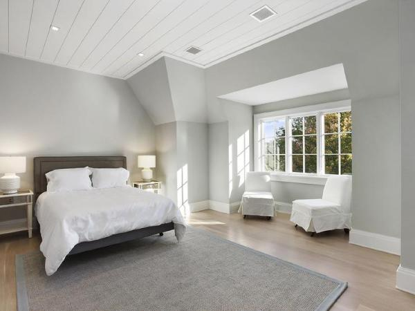 white walls grey ceiling bedroom Shiplap Bedroom Ceiling Design Ideas