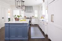 Blue Kitchen Island with Blue Striped Runner ...