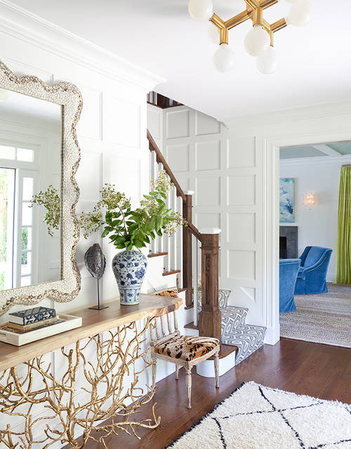 Gold Branches Console Table with Scalloped Mirror