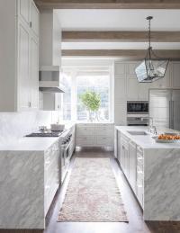 Grey And White Quartzite Kitchen Countertops Design Ideas