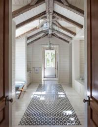 Shiplap Vaulted Bathroom Ceiling with Rustic Wood Beams