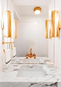 White Powder Room with Gold Fixtures - Contemporary - Bathroom