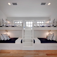 White Built In Bunk Beds with Navy Bedding - Cottage - Boy ...