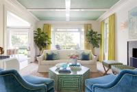 Peacock Blue and Yellow Living Room - Hollywood Regency ...
