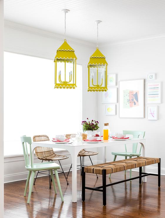 Mint Green Dining Chairs  Eclectic  Kitchen