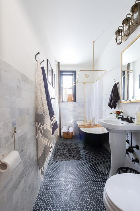Black and Gold Bathroom with Hex Tiles  Transitional