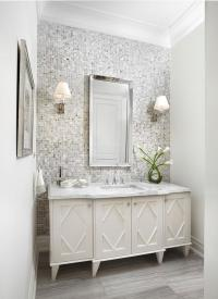 Gray Mosaic Tiled Bathroom Accent Wall