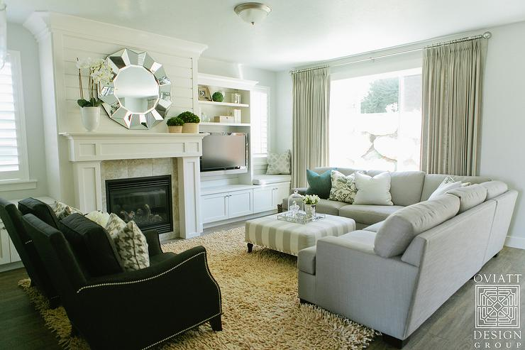 Heather Gray Sectional with Striped Ottoman  Transitional