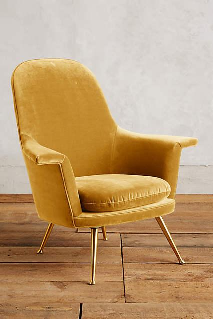 Gold Velvet Kimball Chair
