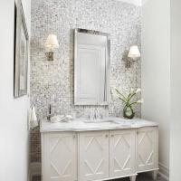 Grey Bathroom Accent Wall Design Ideas
