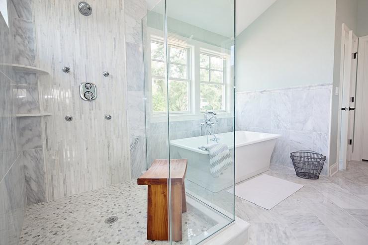 Corner Shower With White Glass Tiles Cottage Bathroom