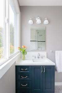 Navy Bathroom Vanity with Frameless Mirror - Contemporary ...