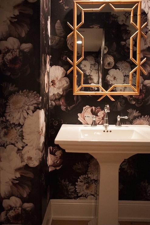 Black and White Powder Room with Gold Faux Bamboo Mirror