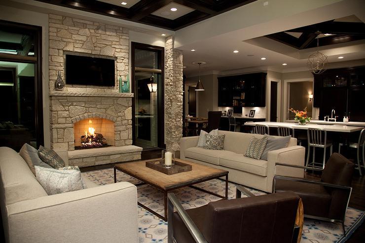 Stone Fireplace Wall with Flatscreen TV Niche