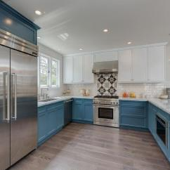 Costco Kitchen Countertops Curtains For Windows White Top Cabinets And Blue Bottom - Transitional ...