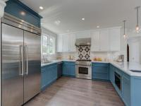 White Upper Cabinets and Blue Lower Cabinets ...