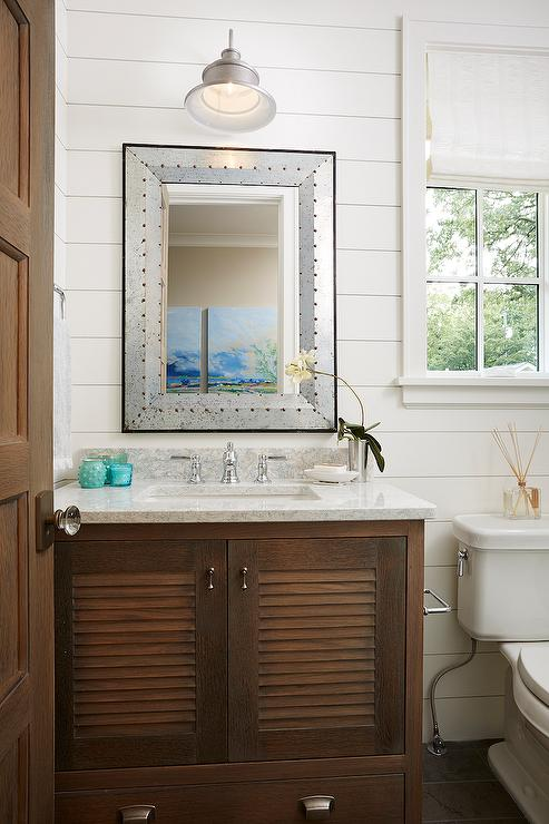 Blue Shutter Double Vanity With Satin Nickel Cup Pulls And Gray Grasscloth Walls Cottage