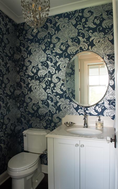 Blue and Silver Metallic Foil Powder Room Wallpaper