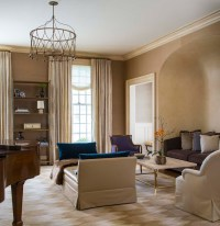 Brown and Taupe Living Room with Brass Coffee Table ...