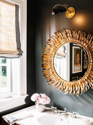 powder mirror gold mirrors wall bathroom rooms paint bathrooms paper pencil dark decor luxury nashville sunburst couple sohr walls tour
