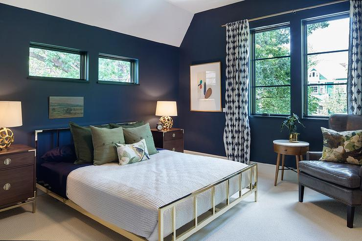 Brass Bed with Campaign Nightstands  Contemporary  Bedroom
