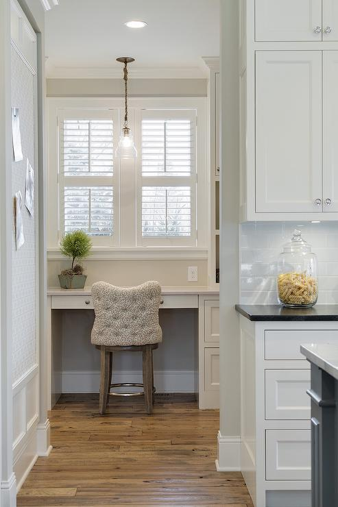 Walk In Pantry With Desk And Plantation Shutters Cottage