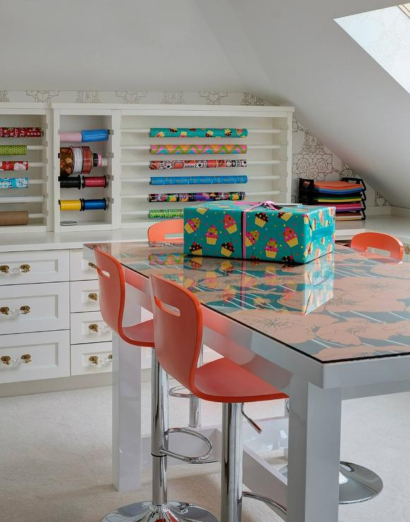 orange cafe chairs swivel chair gif craft room with wrapping paper station
