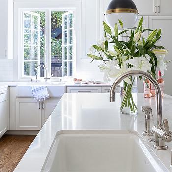 white porcelain kitchen sink brass hardware design ideas island with hicks pendant