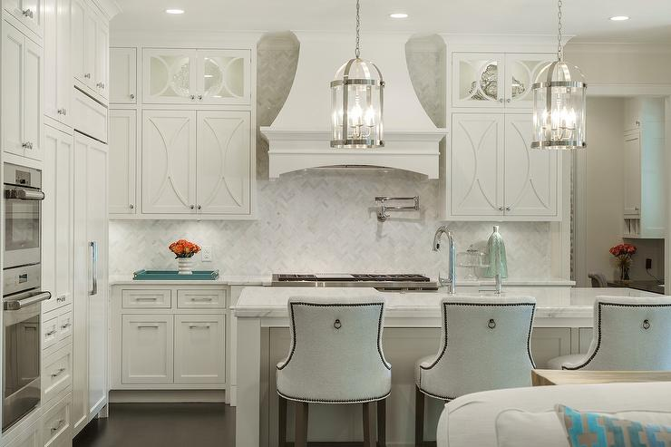 off white kitchen cabinets blue color herringbone backsplash with