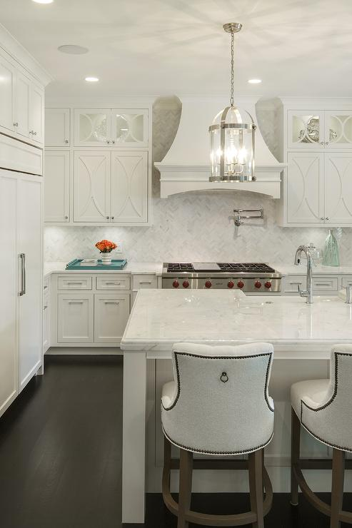 Off White Kitchen with French Range Hood  Transitional