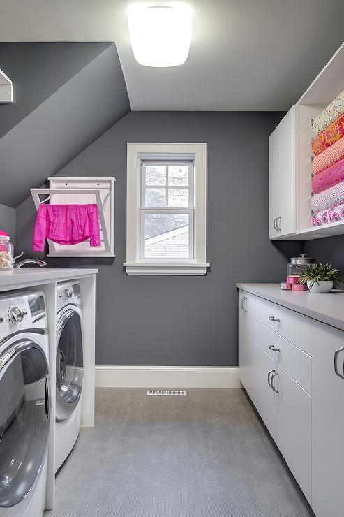 Pink and Gray Laundry Room Design  Contemporary  Laundry Room