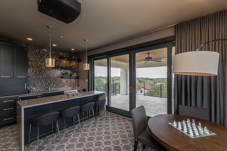Itching to make over your bas. Black and Gray Game Room with Bar - Contemporary - Media Room
