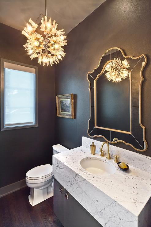 Gray and Gold Powder Room with Marble Vanity