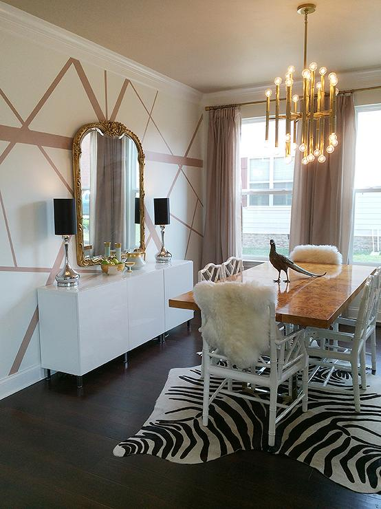 Jonathan Adler Bond Dining Table With Zebra Cowhide Rug Contemporary Dining Room