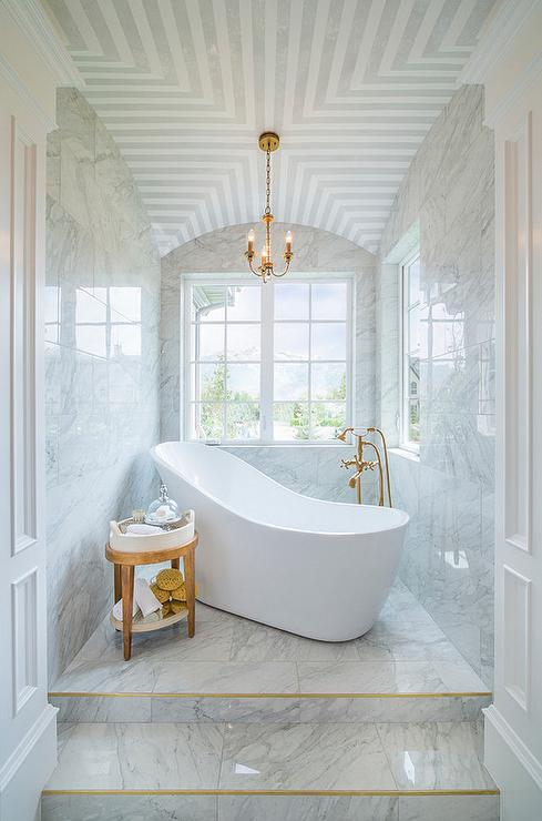 Marble Steps to Freestanding Tub  Transitional  Bathroom