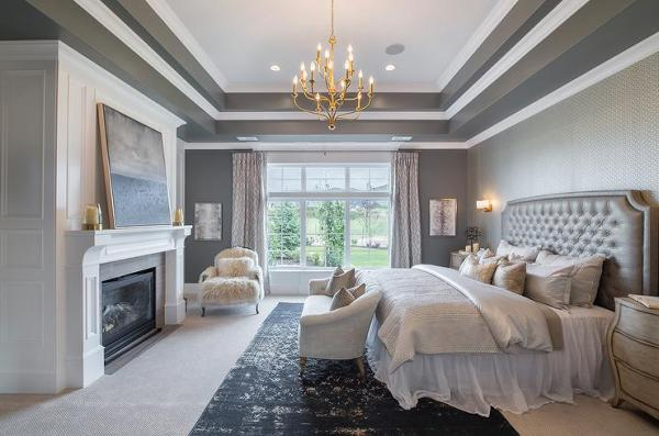 white walls grey ceiling bedroom Gray Bedroom with Tray Ceiling - Transitional - Bedroom