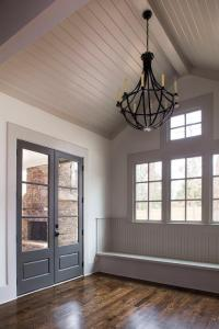 Gray Shiplap vaulted Ceiling Over Mudroom Bench - Cottage ...