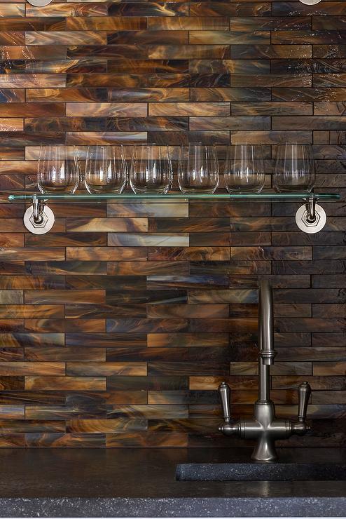 shimmery copper backsplash tiles design