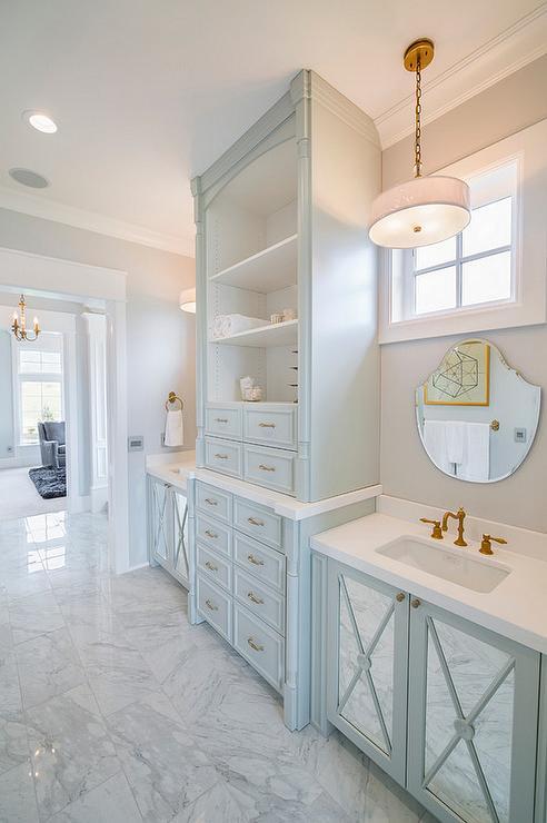 Turquoise Blue Bathroom Vanity With Mirrored Doors Transitional Bathroom