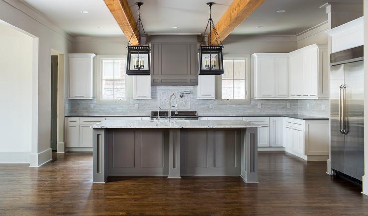 rustic kitchen island lighting countertops quartz white and gray with quatrefoil lanterns - cottage ...