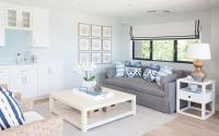 Gray Slipcovered Sofa with Blue Ikat Pillows - Cottage ...