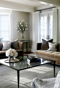 Brown Velvet Sofas with Gray Pillows - Transitional ...