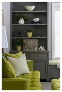 Green and Gray Living Room with Window Seat