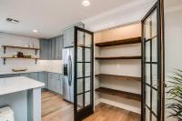 Kitchen Pantry with Stacked Reclaimed Wood Shelves ...