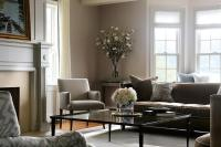 Gray and Brown Living Room with Glass Coffee Table