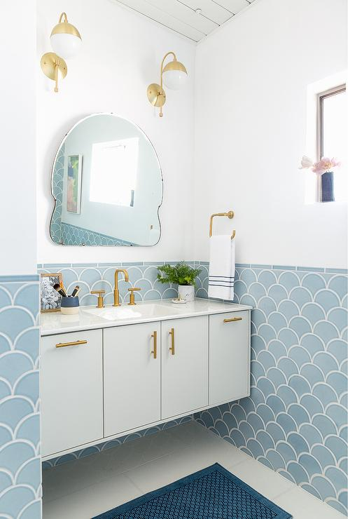 Blue and Gold Bathroom Design  Contemporary  Bathroom